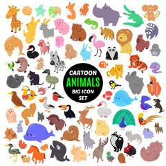 Big set of cute cartoon animal icons isolated on white background