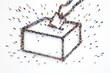 Leinwandbild Motiv 3D rendering of people elections