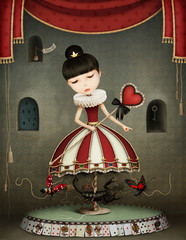 Conceptual illustration of girl fairy queen with  carousel and insects