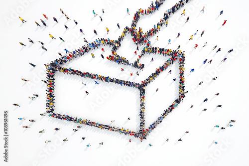 Fotografie, Obraz  3D rendering of people elections
