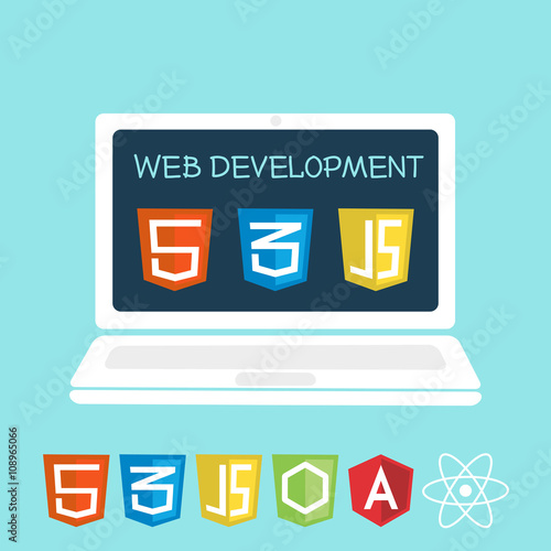 web development laptop Canvas Print