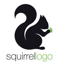 Squirrel Logo. Silhouette Squi...