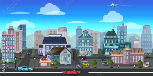 city game background 2d game application. Vector design. плакат