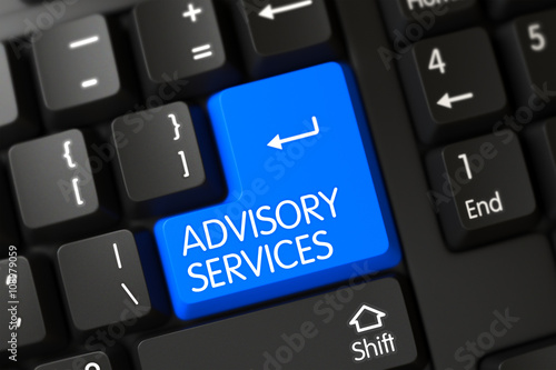 Concepts of Advisory Services, with a Advisory Services on Blue Enter Key on Modernized Keyboard Wallpaper Mural