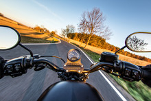 The View Over The Handlebars Of Motorcycle