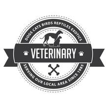 Retro Vintage Dog, Cat, Veterinary, Animal Shelter Insignia Or Badge. EPS 10 Vector.