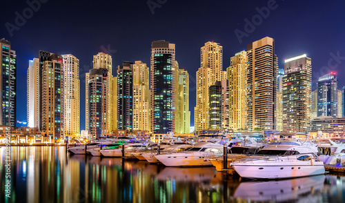 Recess Fitting Dubai Colorfull night dubai marina skyline, Dubai, United Arab Emirates