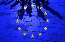 Grunge European Union Flag Wit...