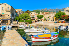 Colorful Fishing Boats In Erbalunga Port On Cap Corse, Corsica Island, France