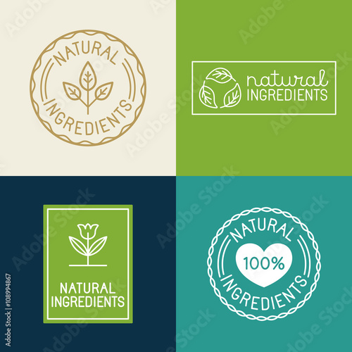 Fotografía  Vector set of design elements and badges for food and cosmetics