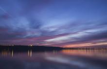 Sunset Over Volga River And Presidental Bridge, Located In Ulyanovsk