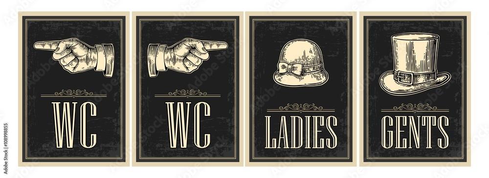 Fototapeta Toilet retro vintage grunge poster. Ladies, Cents, Pointing finger.  Vector vintage engraved illustration on a black background.  For bars, restaurants, cafes, pubs