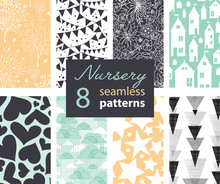 Vector Neutral Nursery Decor Repeat Seamless Patterns 8 Set With Houses, Bunting, Flowers, Hearts, Clouds And Stars. Perfect For Matching Kids Room Wallpaper, Bedding, Furniture.