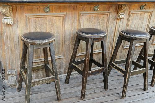 Remarkable Vintage And Rustic Wooden Bar Stools On Wooden Floor In Forskolin Free Trial Chair Design Images Forskolin Free Trialorg