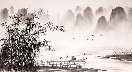 Fototapeta Chinese landscape ink painting