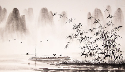 Plakat Chinese landscape ink painting