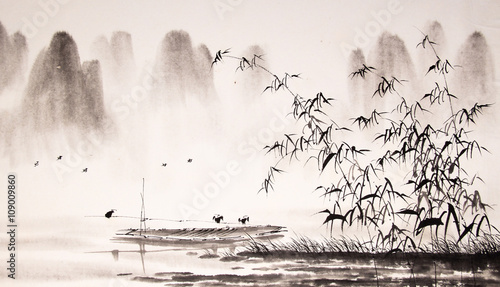 Fotobehang Wit Chinese landscape ink painting