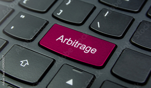 Business Concept: Close-up the Arbitrage button on the keyboard and have Magenta Canvas Print