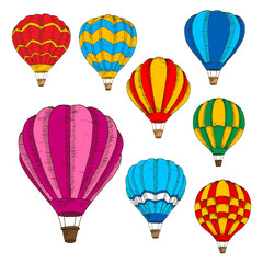 Hot air balloons colorful sketches in retro style