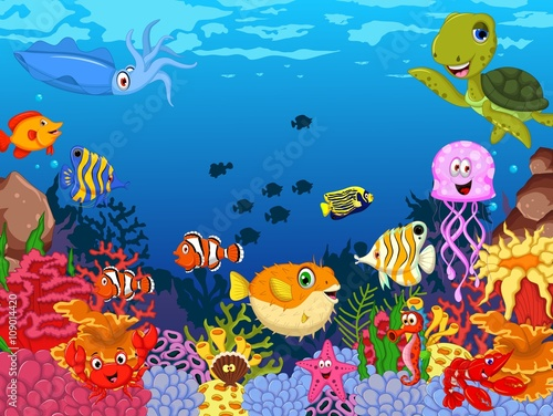 Aluminium Prints Submarine funny sea life cartoon swimming with beauty coral and underwater background