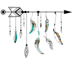 FototapetaArrow and feather for Tribal boho style