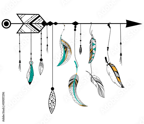 Photo  Arrow and feather for Tribal boho style