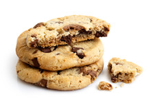 Stack Of Three Light Chocolate Chip Cookies Isolated. One Broken