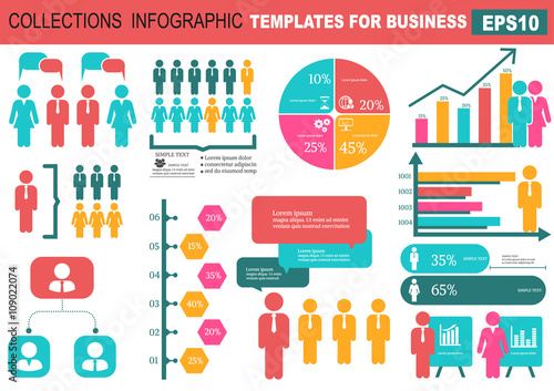 Photo  Collection of infographic people  elements for business.Vector
