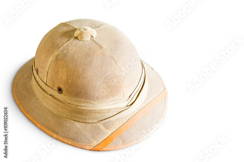 49f781f194fe9 Old pith helmet isolated on white - Buy this stock photo and explore ...