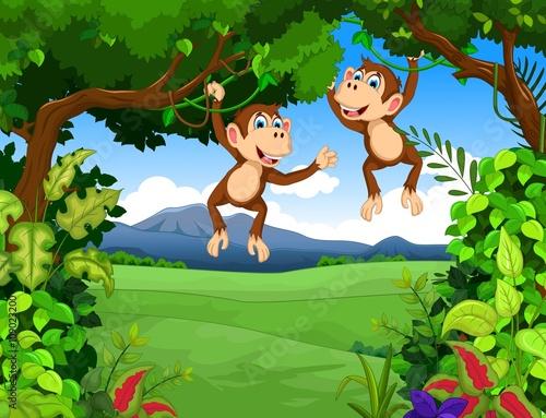monkey cartoon with landscape background