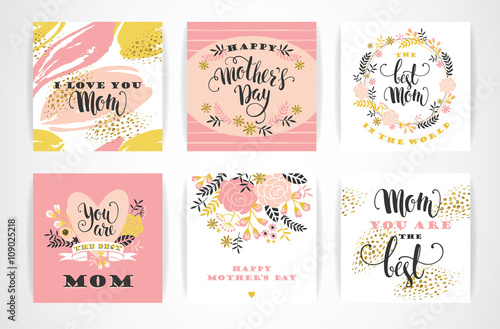 Fototapety, obrazy: Set of Happy Mothers Day lettering greeting cards with Flowers.