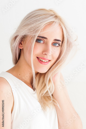 Smiling Touching Woman With Nude Makeup On White Background Blonde Calm Tender Girl -3564