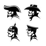 Pirate, cowboy, prussian general, german soldier
