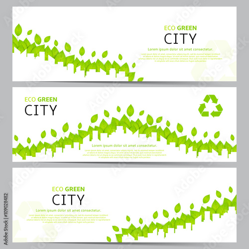 Garden Poster White Set of elegant web eco banners. Collection of templates for website with green leafs and with silhouette of city landscape. Vector illustration on ecology theme.