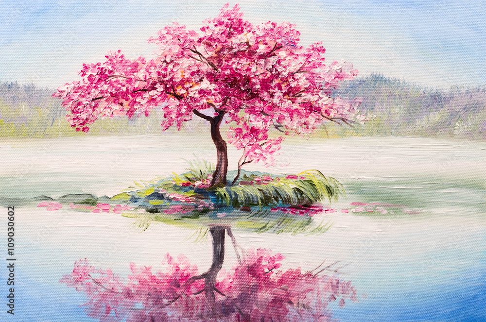 Fototapety, obrazy: oil painting landscape, oriental cherry tree, sakura on the lake