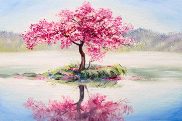 Fototapetaoil painting landscape, oriental cherry tree, sakura on the lake