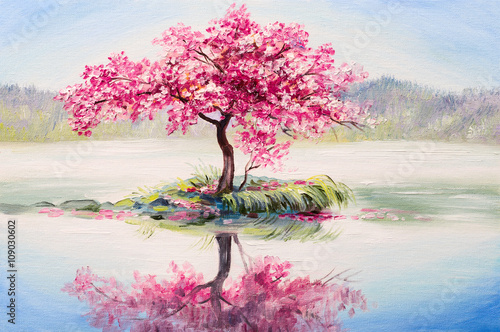 Obraz oil painting landscape, oriental cherry tree, sakura on the lake - fototapety do salonu