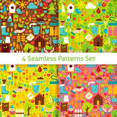 Four Flat Spring Garden Seamless Patterns Set