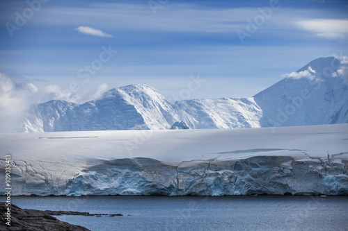 Poster Antarctica Coast of Antarctica with centuries-old thicknesses off glaciers