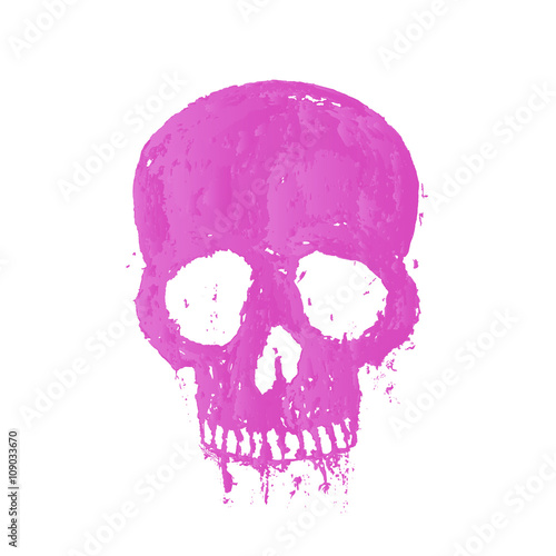 Photo sur Aluminium Crâne aquarelle t-shirt print with painted skull, isolated over white, vector illustration