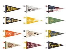 Set Of Adventure Pennants. Pennant Explore Flags Design. Vintage Surf, Caravan, Rv Templates. USA, California Pennant With Summer Camp Symbols Trailer, Signpost, Anchor, Bear. Summer Hawaii Old Style