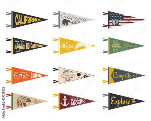 Set of adventure pennants. Pennant explore flags design. Vintage ...