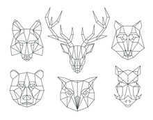 Low Poly Animals Heads. Triang...