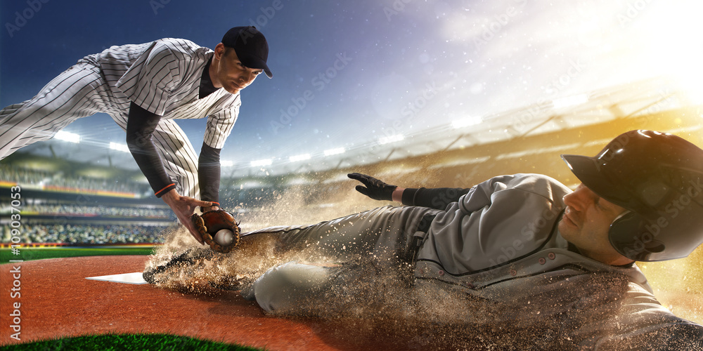 Fototapety, obrazy: two baseball player in action