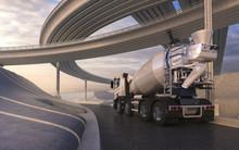 Cement Mixer Trucks On Highway