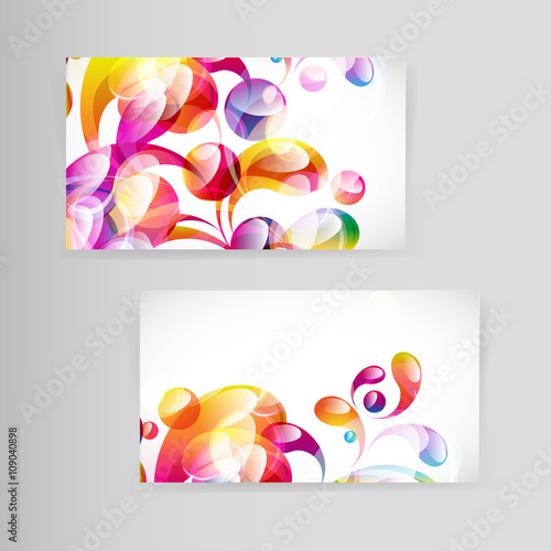 Foto op Canvas Bloemen vrouw Sample business card with bright teardrop-shaped arches.