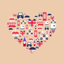 London Icons In Flat Style Arr...
