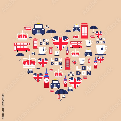 Tuinposter Doodle London icons in flat style arrange in the form of heart. England icons isolated on background. Vector iilustration