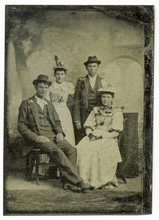 Tintype, Circa 1880, USA, Of Family Group Posed In Studio