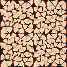 Chopped Firewood On A Stack. Vector Illustration Background.